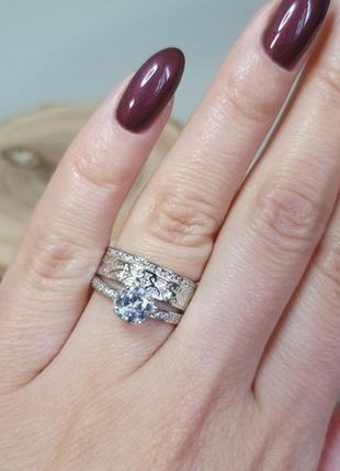 Подвійна срібна каблучка / кольцо серебряное женское