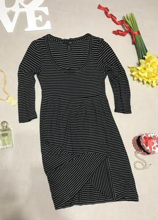 Полосатое платье из вискозы