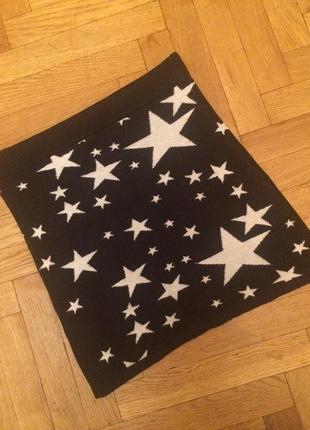 Стильная юбка принт звезды,вязаный трикотаж,от h&m
