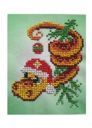 """Готовая картина-вышивка бисером готовая """"новогодняя змея"""""""