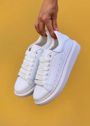 Alexander mcqueen oversized sneakers all white женские кроссов...