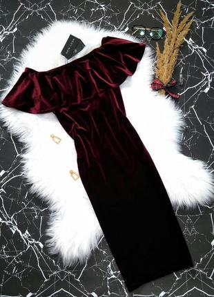 Невероятно красивое нарядное бархатное платье миди new look