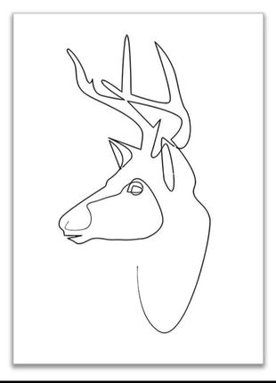 Картина плакат постер для декора стен на холсте живопись олень...