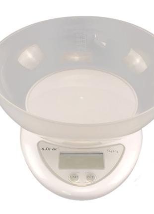Ваги кухонні електронні А-плюс з чашею 5 кг