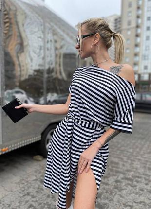 Платье в полоску черно-белое
