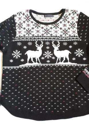 Новогодний женский свитер* джемпер m&s(размер 40-42)