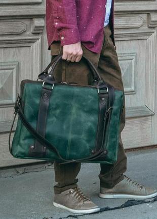 Кожаная сумка для ноутбука 17 д, мужская зеленая сумка