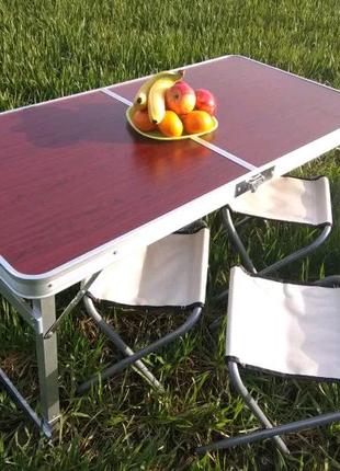 Усиленный стол для пикника раскладной со стульями 4 стула столик