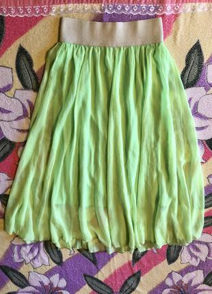 Юбка длинная в пол салатовая зелёная