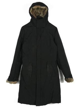 Супер теплая натуральная куртка длинный пуховик с мехом кролик...