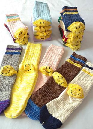 Высокие носки kapital craft line со смайликом, носки из толсто...