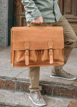 Коричневая кожаная сумка для ноутбука 17 дюймов, кожаный мужск...