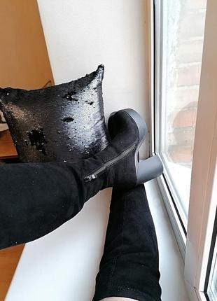 Демисезонные сапоги-чулки\ботфорты под замшу на толстом каблук...