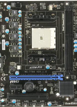 Материнская плата MSI A55M- P33 (sFM1, AMD A55, PCI-Ex16) тест ок