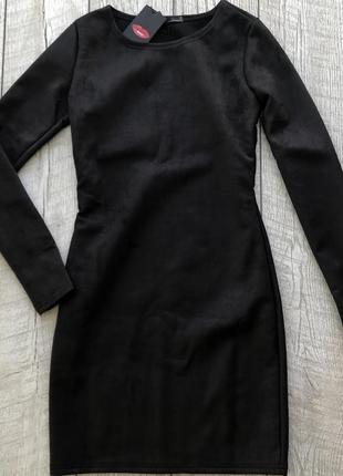 Стильное платье из плотного эко замша