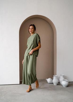 Зелёный(хаки) оверсайз костюм/женская свободная футболка+штаны