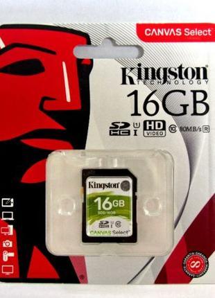 Карта памяти Kingston 16GB SDHC class 10 UHS-I Canvas Select Н...