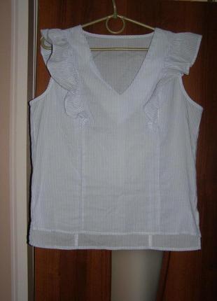 Блуза из хлопка с воланами , р.с-м