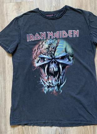 Мужская хлопковая футболка с принтом iron maiden