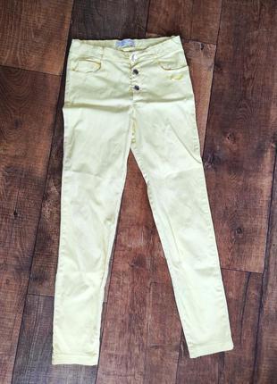 Брюки штаны узкие жёлтые леггинсы 146-152см скинни skinny 11-1...