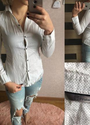 Белая рубашка в мелкий горошек annabelle размер: xs