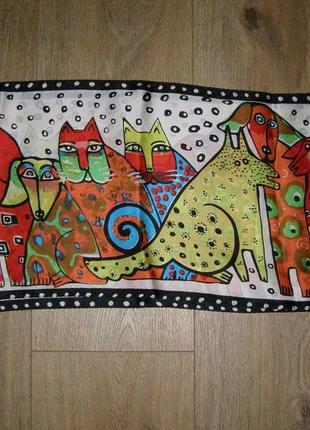 Шелковый шарф с котами