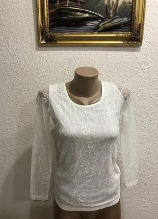 Гипюровая кружевная кофта кофточка блуза блузка кружево
