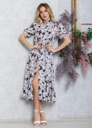 Серое платье-рубашка на кулиске с воланом