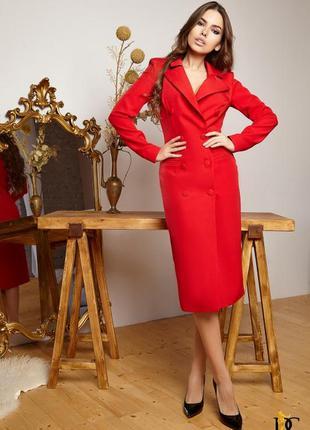 Красное платье-пиджак удлинённое на пуговицах