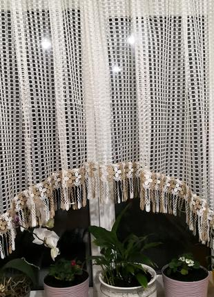 Занавеска штора тюль сетка арка шампань