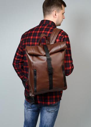 Брендовый мужской коричневый мега стильный рюкзак для путешествий