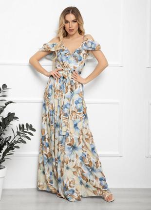 Длинное голубое платье на запах с воланами