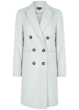 Актуальное двубортное пальто нежно-голубого цвета topshop