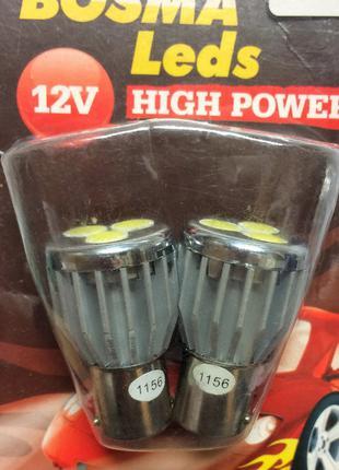Светодиодная лампа 8023 BA15s 3 High power LED WHITE (белая) 2 шт
