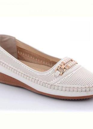 Женские белые летние туфли на танкетке комфорт b069