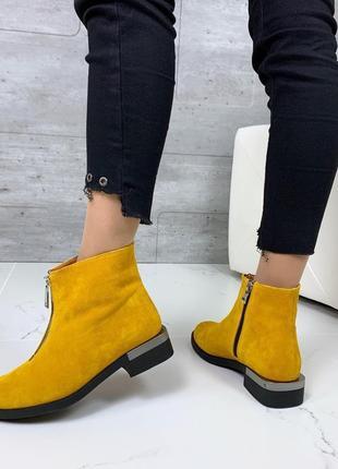 ❤ женские горчичные демисезонные осенние замшевые ботинки сапо...
