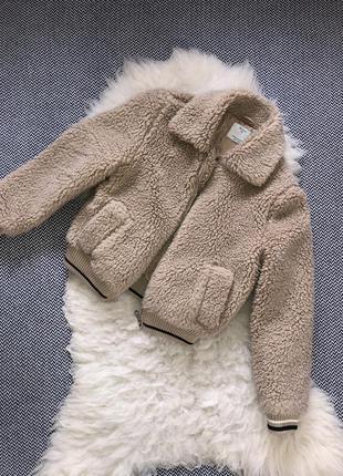 Бомбер куртка тедди манжеты барашек меховый укорочённый