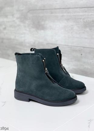 ❤ женские серые зимние замшевые низкие ботинки сапоги ботильон...