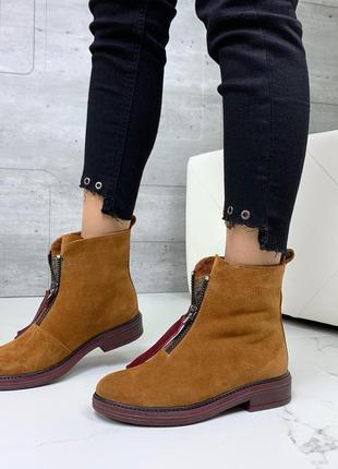 ❤ женские горчичные зимние замшевые низкие ботинки сапоги боти...