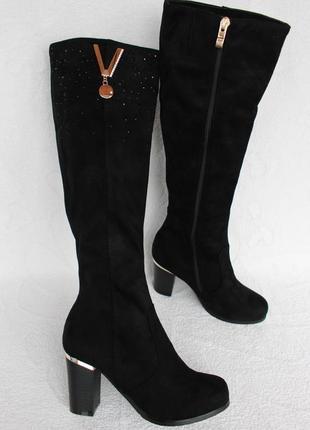 Демисезонные сапоги, сапожки 36 размера на устойчивом каблуке