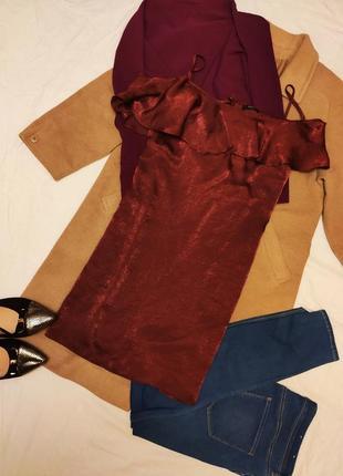 Бордо бордовое марсала винное платье с воланами в бельевом стиле