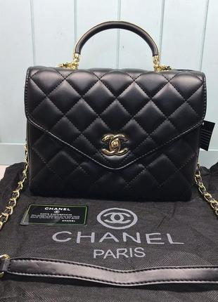 Женская маленькая сумка черная чорна Chanel Шанель