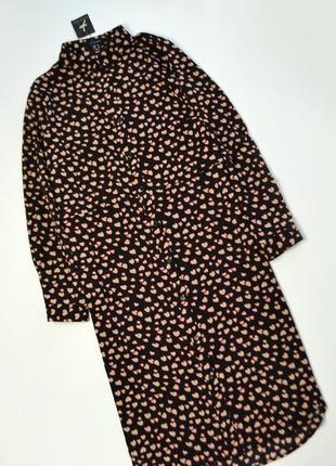 Модное платье рубашка миди с принтом сердечки