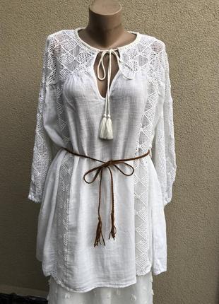 Белая,бохо блуза,этно рубаха,кружево,большой размер,хлопок,