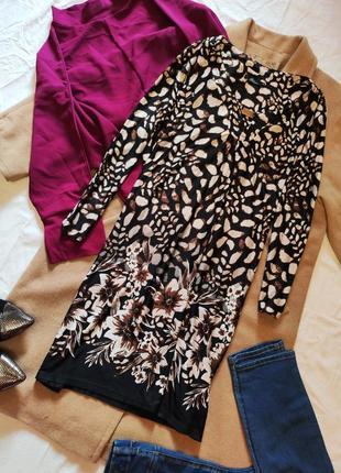 Платье цветочное микромасло чёрное коричневое белое