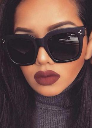 Женские солнцезащитные очки квадратные черные матовые