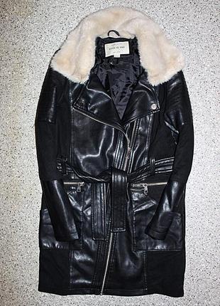 Кожаное пальто со вставками