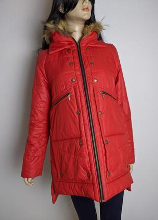 🔥🔥🔥 красная длинная куртка дутик с меховым воротником s
