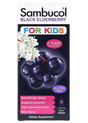 Sambucol, Самбукол, Черная бузина, Сироп для детей, с ягодным вку