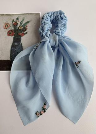 Твіллі резинка на волосся жіноча блакитна, резинка с лентой же...